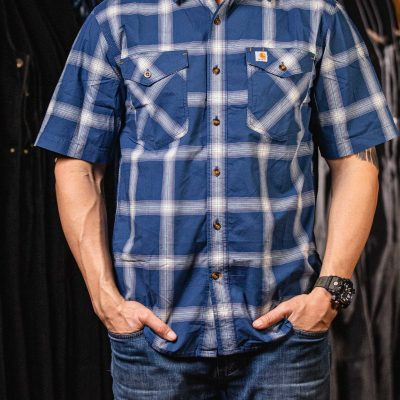 Rugged Flex Relaxed Fit Plaid Shirt (Dark Blue)