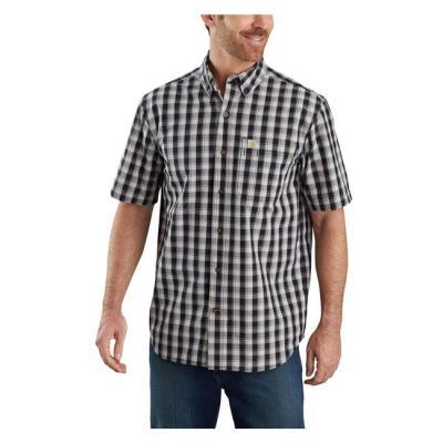 Relaxed Fit Lightweight Short Sleeve Plaid Shirt (Black)