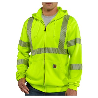 High-Visibility Zip Front Class 3 Sweatshirt (Brite Lime)