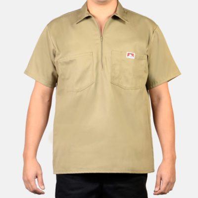 Short Sleeve Solid, 1/2 Zip (Khaki)