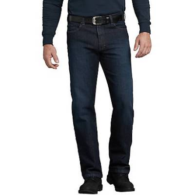 Flex Regular Fit Straight Leg 5-Pocket Toughmax Denim Jeans (Rinsed Indigo Blue)