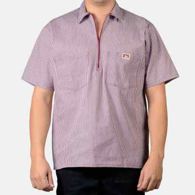 Short Sleeve Stripe, 1/2 Zip  (Burgundy)