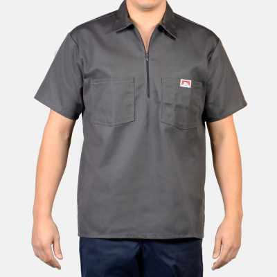 Short Sleeve Solid, 1/2 Zip (Charcoal)