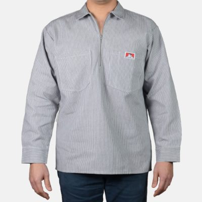 Poly/Cotton Long Sleeve Striped, 1/2 Zip (Hickory)