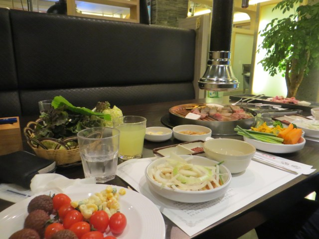 Table set for a traditional Korean-style buffet dinner, August 29, 2016