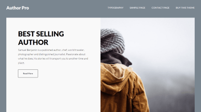 Author Pro- Front page of theme showing author image and details