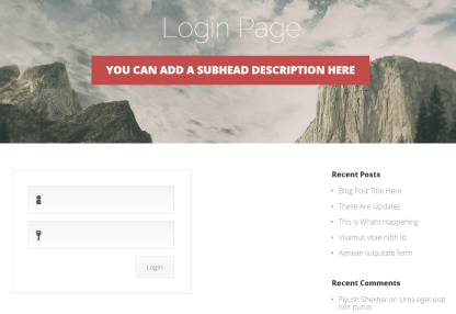 Login Page Vertex Theme