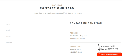 Contact us page of London Creative+ theme