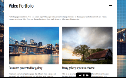 DK- Allows you to have video portfolios to this theme with attractive hover effects