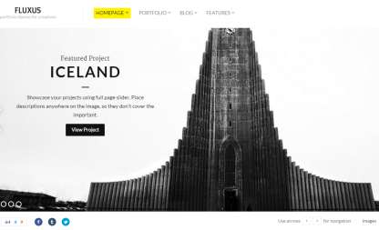 Fluxus- Front page with fullwidth slider and horizontal layout