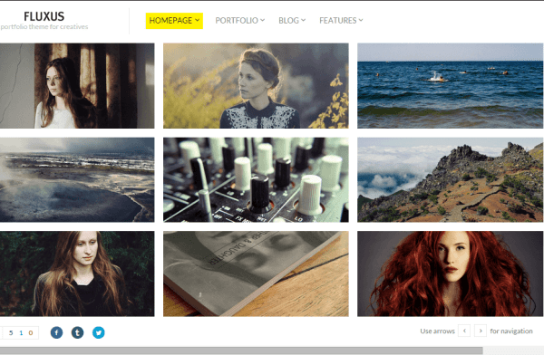 Fluxux- Fullwidth horizontal grid view of Portfolio with hover effects