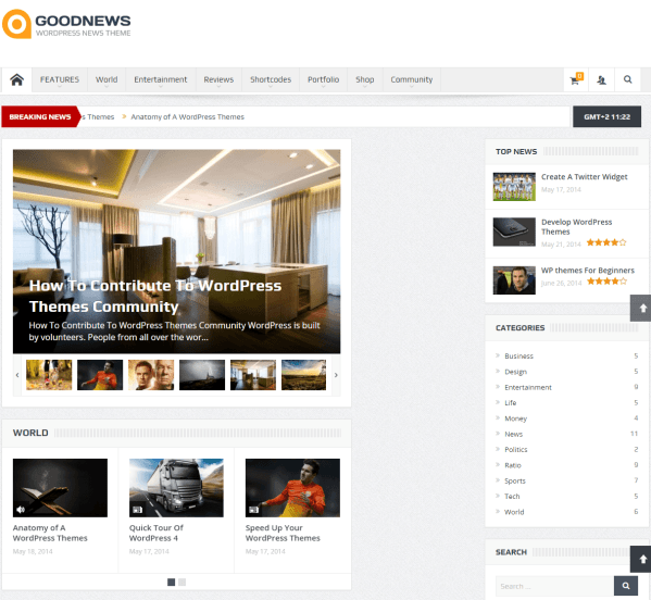 GoodNews- Several blog page layouts are supported