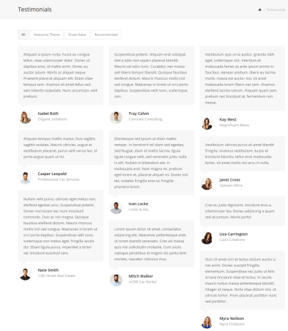 Total- Testimonials page with this theme
