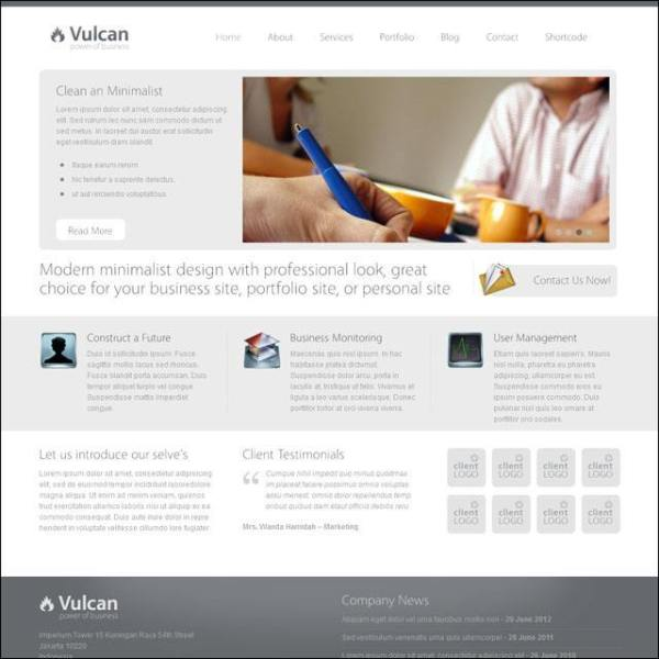 Vulcan- front page layout with one of the slider supported by this theme