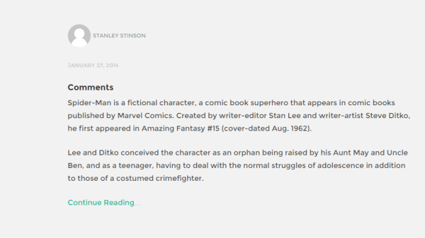 Blog page of Stanley WP theme.
