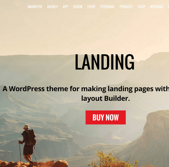 Landing – A WordPress theme for making landing pages with drag & drop layout Builder.