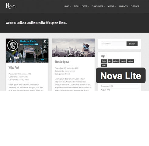 Nova Lite – responsive clean Tumblog WordPress Theme