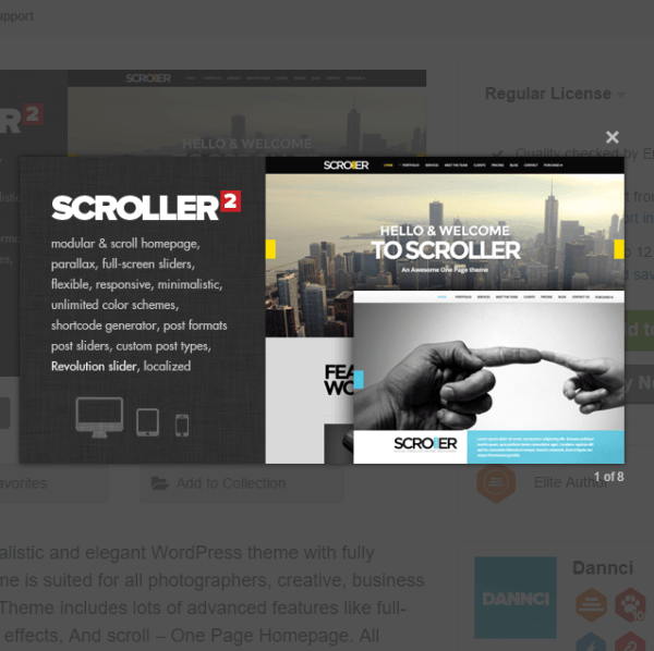 Scroller is a Parallax, Scroll & Responsive Theme