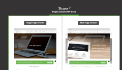 buzz blog home page with two different versions