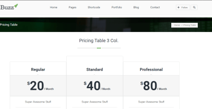 buzz blog pricing table with 3 different columns.