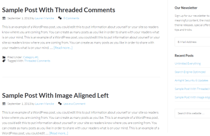 Blog page of Centric Pro theme
