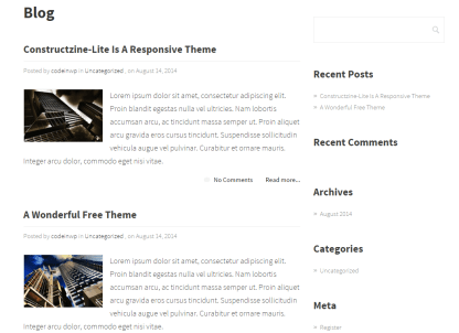 Blog page of Constructzine Lite theme