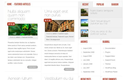 DelicateNews- Page template with 2 grid for content & 1 for sidebar