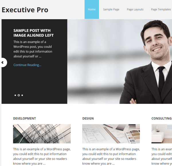 Executive Pro- A corporate WordPress Theme