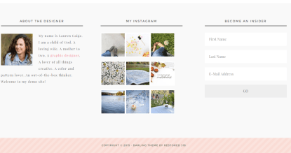 Footer page of Darling Theme