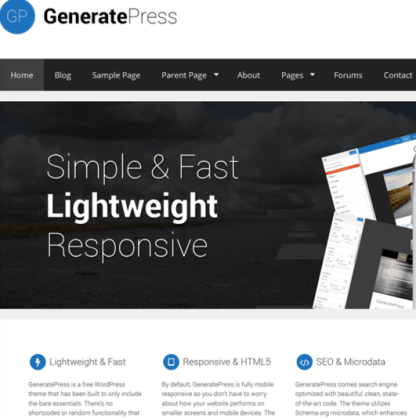 GeneratePress - Simple, lightweight theme with many powerful options