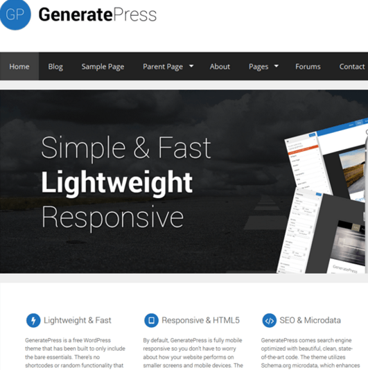 GeneratePress – Simple, lightweight theme with many powerful options