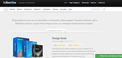 Home page of InReview theme