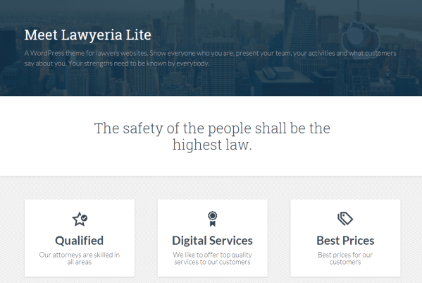 Homepage of Lawyeria Lite theme