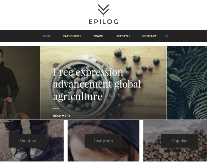 Front View of Epilog Theme.
