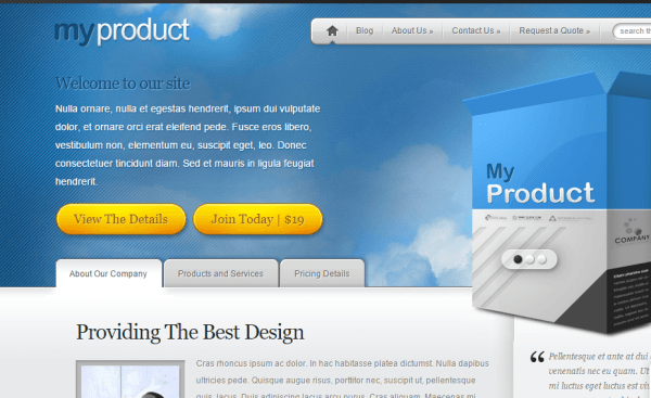 MyProduct theme – Displaying products and services online