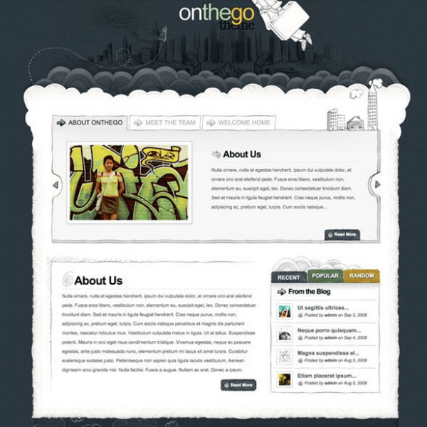 OnTheGo- A hand-drawn WordPress theme