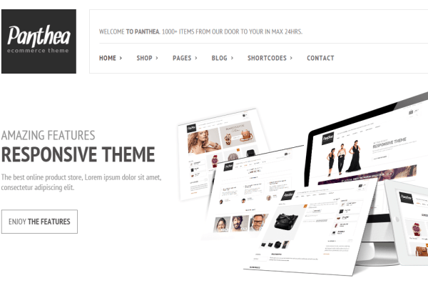 Panthea- Home page built with revolution slider