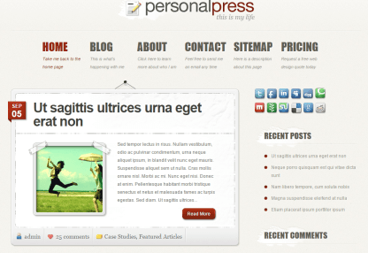 PersonalPress- Front page showing latest posts on hanging board layout and sidebar