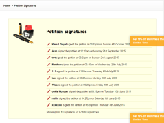 Petition Pro- page showing details of people who signed petition