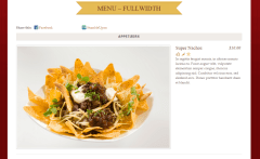 Rezo- Fullwidth menu showing single dish in a row with its details at right