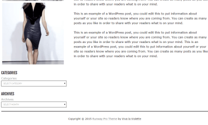 Runway theme'spage layout with left sidebar