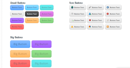 Shortcodes generated for small buttons, big buttons, icon buttons