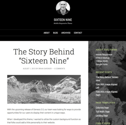 Sixteen Nine Pro - Responsive, Perfect theme for bloggers, authors and writers