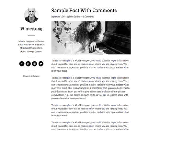 Wintersong Pro – WordPress Simple, clean Blog theme