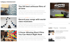 ADMAG theme showing Category – Entertainment