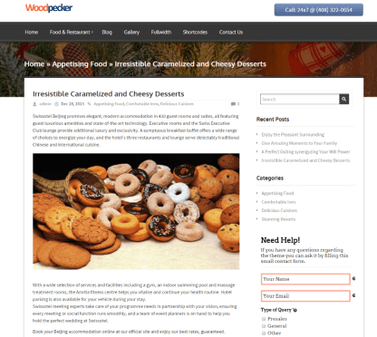 Appetising food page of WoodPecker Multipurpose theme