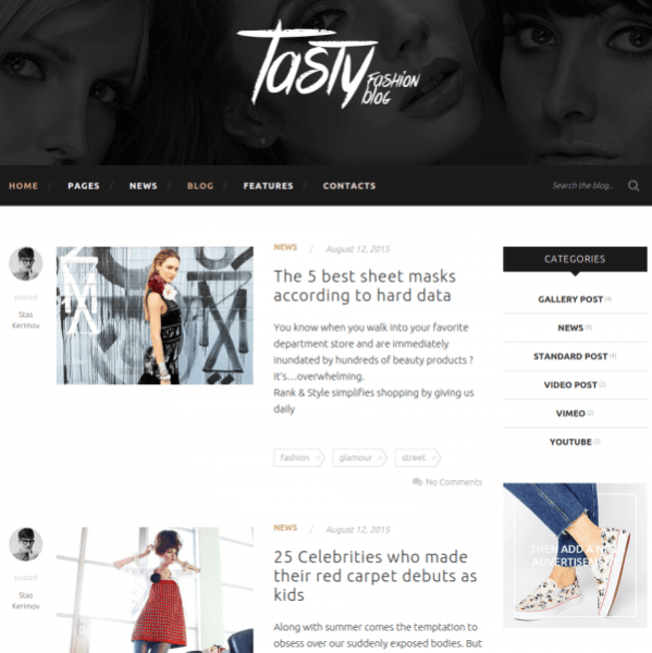 Blog-With-list-tasty-WordPress-theme