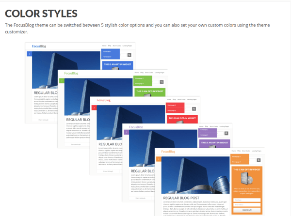 Color style feature shown by FocusBlog theme