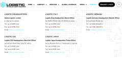 Contact page of logistic