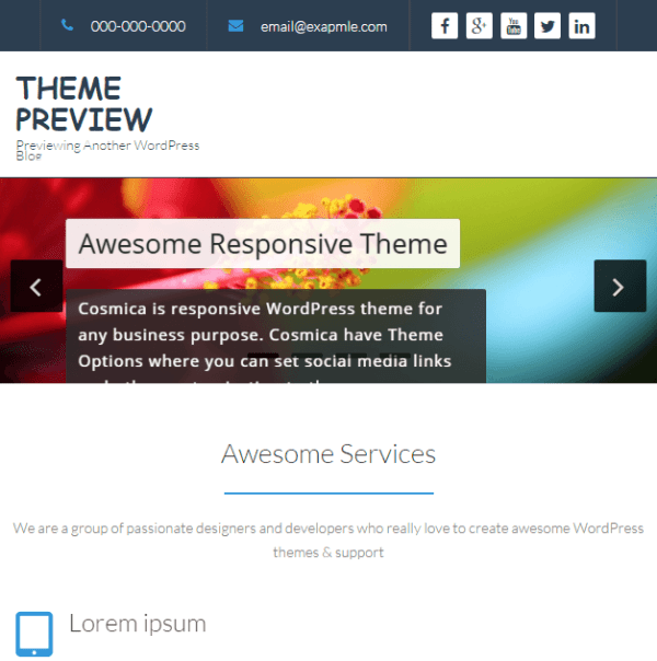Cosmica- A WordPress theme for any business purpose